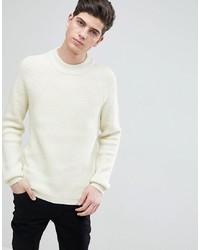 Мужской белый вязаный свитер от Mango