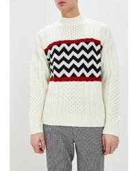 Мужской белый вязаный свитер от Topman