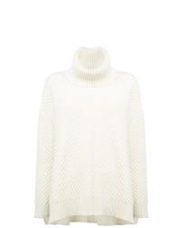 Белый вязаный свободный свитер от Adam Lippes