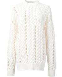 Женский белый вязаный свободный свитер от Alexander Wang
