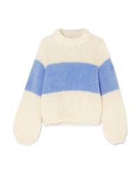 Белый вязаный свободный свитер от Ganni