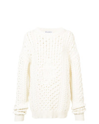 Белый вязаный свободный свитер от JW Anderson