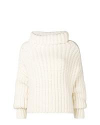 Белый вязаный свободный свитер от Maison Flaneur