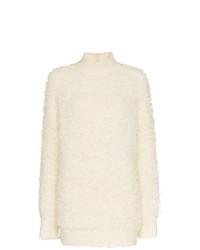 Белый вязаный свободный свитер от Marni