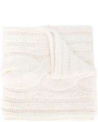 Женский белый вязаный шарф от Maison Margiela
