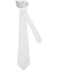 Белый галстук в горошек