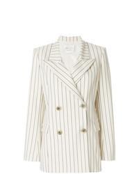 Белый двубортный пиджак в вертикальную полоску