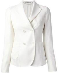 Белый двубортный пиджак