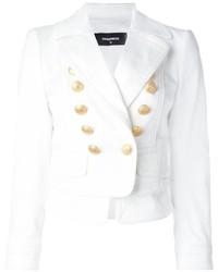 Женский белый двубортный пиджак от Dsquared2
