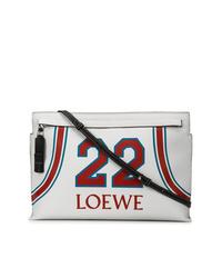 Белый кожаный клатч с принтом от Loewe