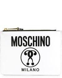 Женский белый кожаный клатч с принтом от Moschino