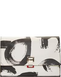 Женский белый кожаный клатч с принтом от Proenza Schouler