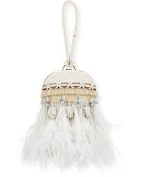 Белый кожаный клатч с украшением