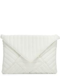 Белый кожаный стеганый клатч
