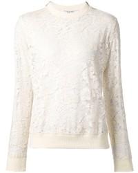 Белый кружевной свитер с круглым вырезом
