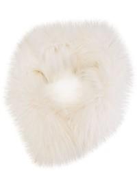 Женский белый меховой шарф