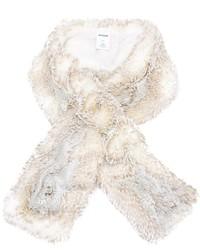 Женский белый меховой шарф от Chalayan