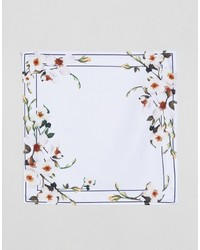 Мужской белый нагрудный платок с цветочным принтом от Asos