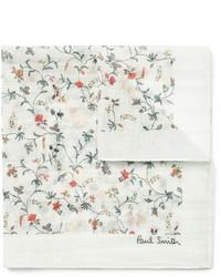 Мужской белый нагрудный платок с цветочным принтом от Paul Smith
