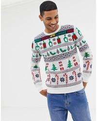 Белый новогодний свитер с круглым вырезом