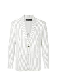 Мужской белый пиджак в вертикальную полоску от Roar