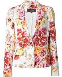 Женский белый пиджак с цветочным принтом от Salvatore Ferragamo