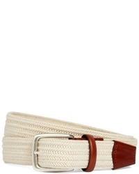 Белый плетеный ремень из плотной ткани