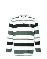 Белый свитер с воротником поло в горизонтальную полоску