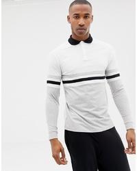 Мужской белый свитер с воротником поло в горизонтальную полоску от ASOS DESIGN