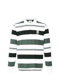 Мужской белый свитер с воротником поло в горизонтальную полоску от Kent & Curwen