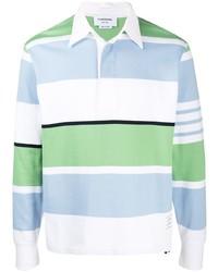 Мужской белый свитер с воротником поло в горизонтальную полоску от Thom Browne
