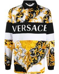 Мужской белый свитер с воротником поло с принтом от Versace