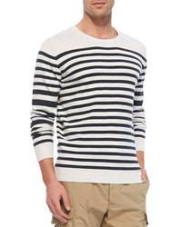 Белый свитер с круглым вырезом в горизонтальную полоску