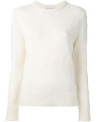 Белый свитер с круглым вырезом из мохера