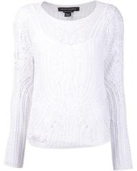 Белый свитер с круглым вырезом крючком