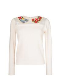 Белый свитер с круглым вырезом с вышивкой