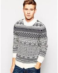 Белый свитер с круглым вырезом с жаккардовым узором