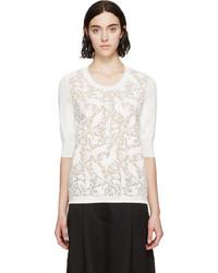 Белый свитер с круглым вырезом с леопардовым принтом