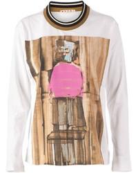 Белый свитер с круглым вырезом с принтом