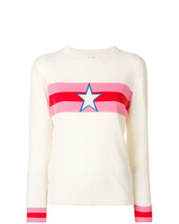 Женский белый свитер с круглым вырезом с принтом от Chinti & Parker