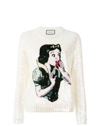 Женский белый свитер с круглым вырезом с принтом от Gucci
