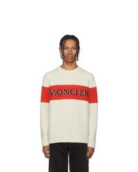 Мужской белый свитер с круглым вырезом с принтом от Moncler Genius