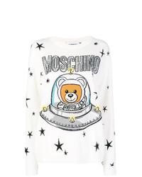 Женский белый свитер с круглым вырезом с принтом от Moschino