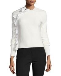 Белый свитер с круглым вырезом с рюшами