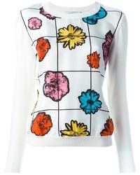 Белый свитер с круглым вырезом с цветочным принтом