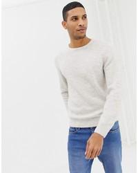 Мужской белый свитер с круглым вырезом от Burton Menswear