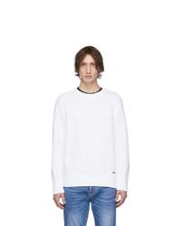Мужской белый свитер с круглым вырезом от DSQUARED2