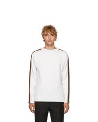 Мужской белый свитер с круглым вырезом от Fendi
