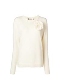 Женский белый свитер с круглым вырезом от Gucci