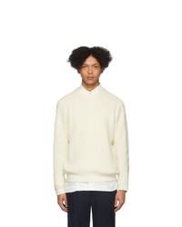 Мужской белый свитер с круглым вырезом от Issey Miyake Men